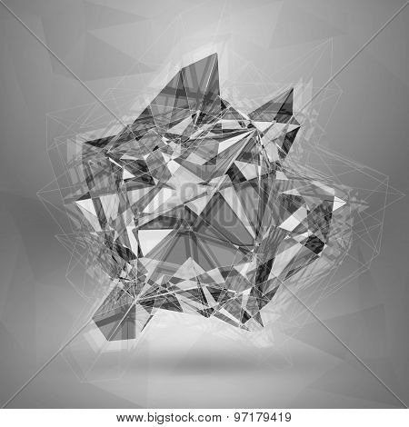 Wireframe Polygonal Element. Explosion Of Red 3D Object