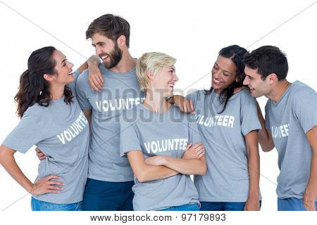 Happy volunteers talking together