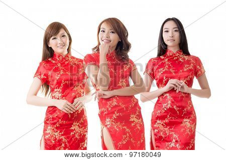 Group of Chinese women dress traditional cheongsam at New Year, studio shot isolated on white background.