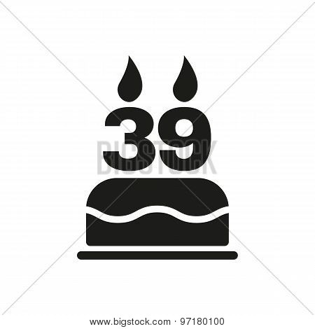 The birthday cake with candles in the form of number 39 icon. Birthday symbol. Flat