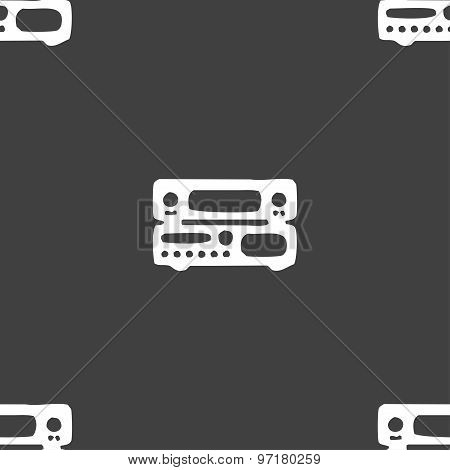 Radio, Receiver, Amplifier Icon Sign. Seamless Pattern On A Gray Background. Vector