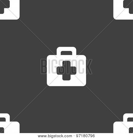 First Aid Kit Icon Sign. Seamless Pattern On A Gray Background. Vector