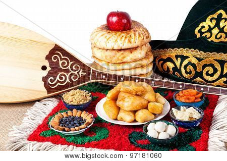 Kazakh Food, Dombra And Hat