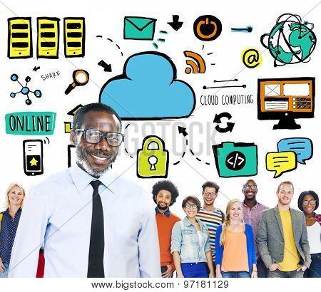 Diversity People Cloud Computing Team Leadership Concept