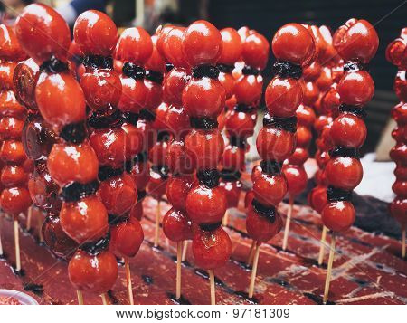 Sweet Street Food In Taiwan Red Fruit Coated With Sugar