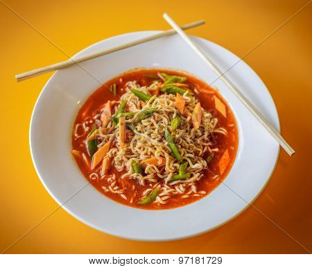 Chinese Noodles with Vegetables. Top View