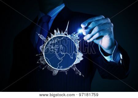 Chest view of businessman drawing on screen concept of traveling