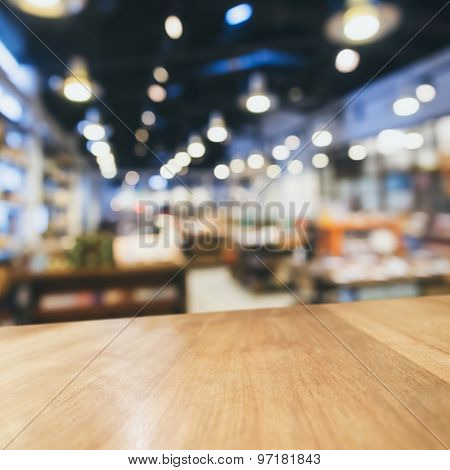 Table Top Counter Bar With Blurred Retail Shop Background