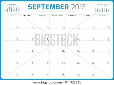 Calendar Planner 2016. Vector Design Template. September. Week Starts Sunday