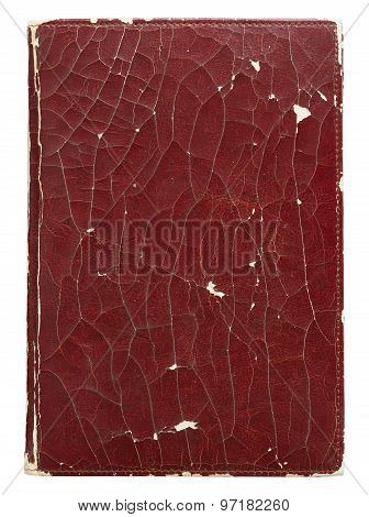 Old Leather Book Cover Isolated On White With Clipping Path