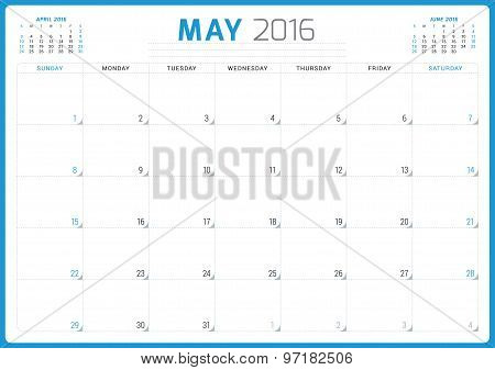 Calendar Planner 2016. Vector Design Template. May. Week Starts Sunday
