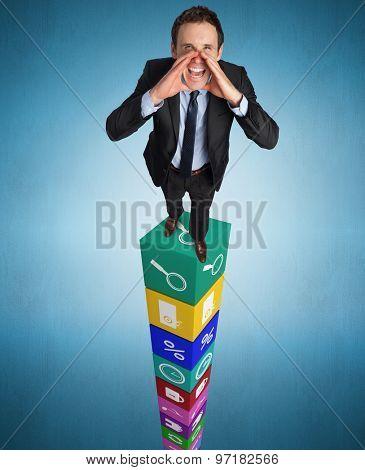 Shouting businessman against blue vignette background