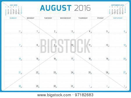 Calendar Planner 2016. Vector Design Template. August. Week Starts Sunday