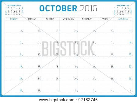 Calendar Planner 2016. Vector Design Template. October. Week Starts Sunday