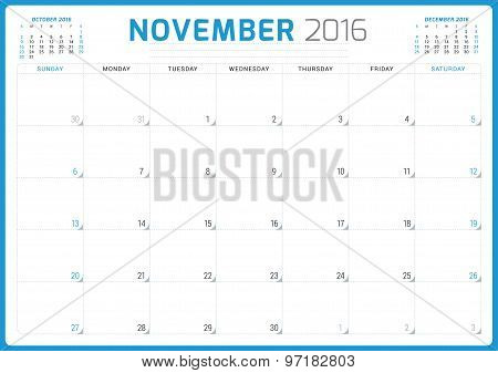 Calendar Planner 2016. Vector Design Template. November. Week Starts Sunday