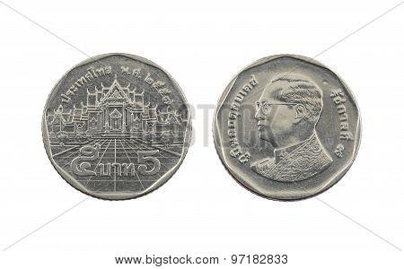 Five Baht Thailand Coins.