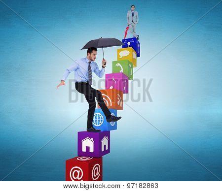 Smiling businessman with umbrella against blue vignette background