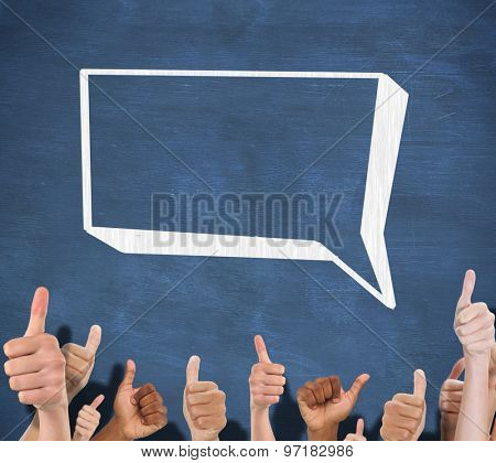 Hands showing thumbs up against blue chalkboard