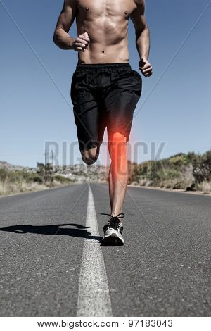 Digital composite of Highlighted knee of running man