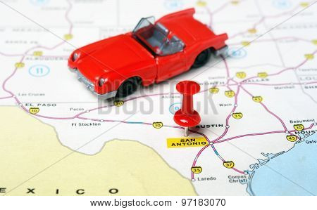 San Antonio  Texas  Usa  Map Cabrio