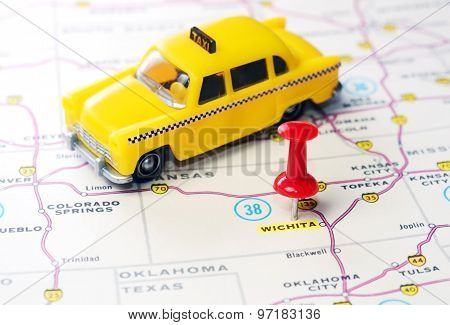 Wichita  Kansas  Usa  Map Taxi