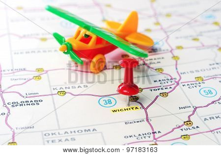 Wichita  Kansas  Usa  Map Flight
