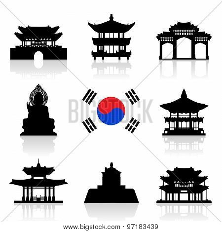 Korea Travel Icon Set.