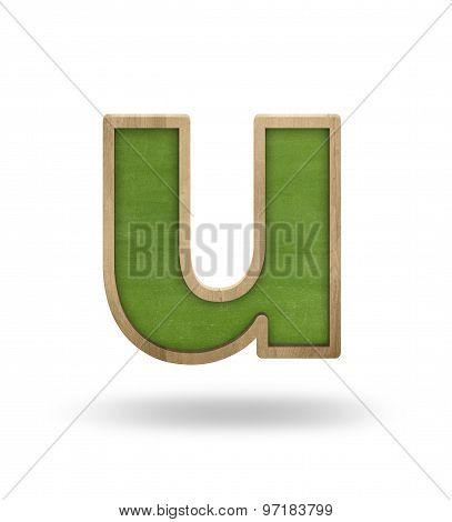 Green blank letter u shape blackboard