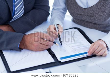 Business people checking file in an office