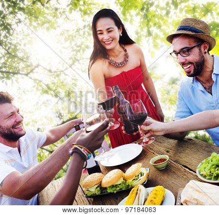 Friends Outdoors Vacation Dining Hanging out Concept