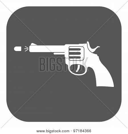 The gun icon. Pistol and handgun, weapon, revolver, shot symbol. Flat