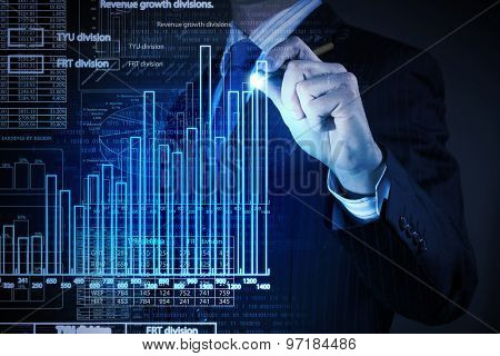 Chest view of businessman drawing with pencil increasing graph
