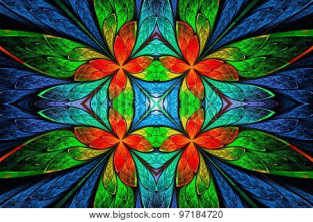 Symmetrical Flower Pattern In Stained-glass Window Style On Black. Green, Blue And  Red Palette.