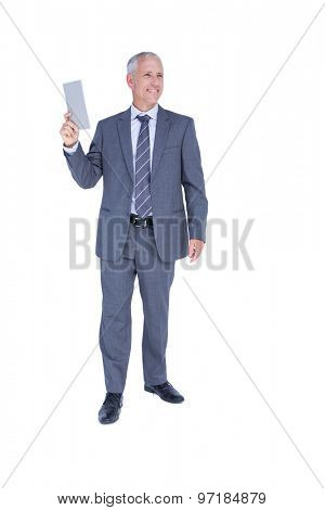 Businessman holding paper in his hand on white background
