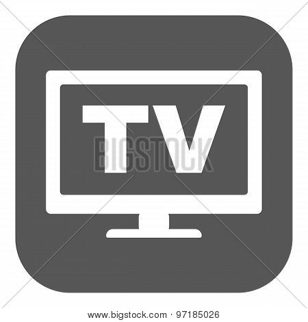 The tv icon. Television and telly, telecasting, broadcast symbol. Flat