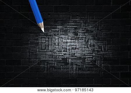 Business concept words written by pencil on wall