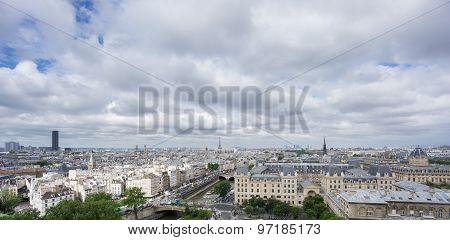 Skyline of Paris with Eiffel tower and Seine river