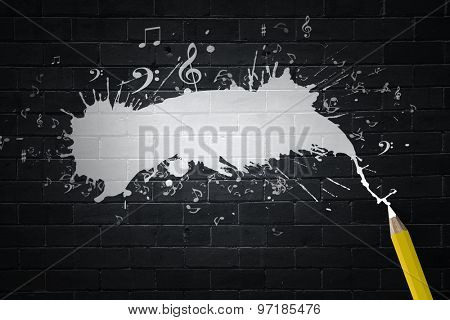 Music notes and pencil on black background