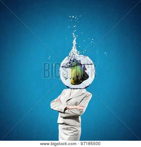 Woman with water bowl with fish instead of a head