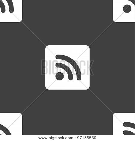 Rss Feed  Icon Sign. Seamless Pattern On A Gray Background. Vector