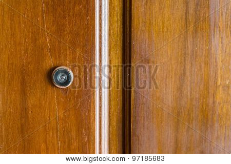 Wooden Door with Peephole