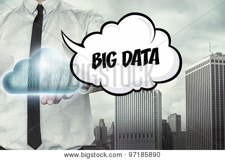 Big data text on cloud computing theme with businessman
