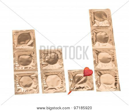 Golden condoms with heart pin