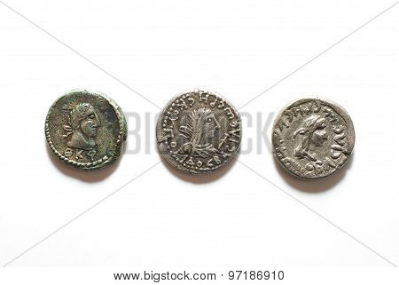 Vintage Silver Coins With Portraits Of Kings On A White Background