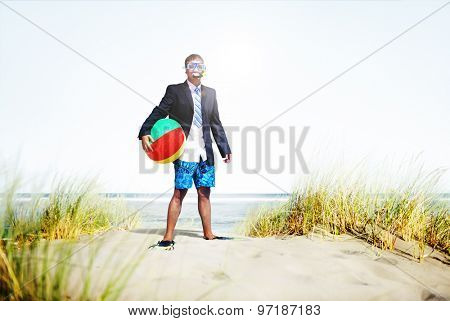 Businessman Relaxation Activity Beach Vacations Concept