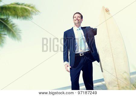 Businessman Relaxation Surfing Summer Beach Concept