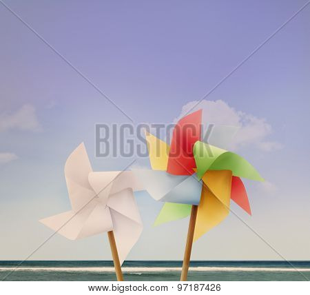 Pin Wheel Beach Summer Travel Vacations Concept