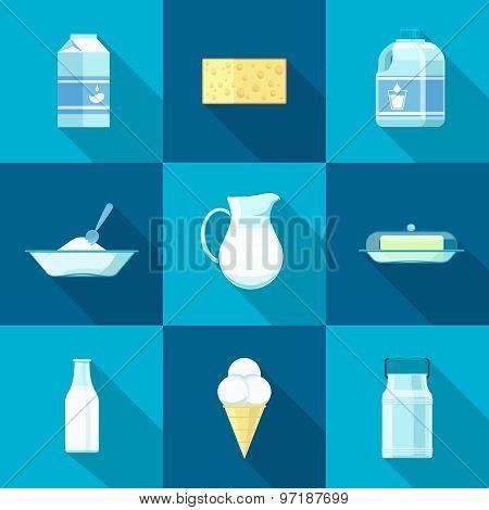 Milk icon set