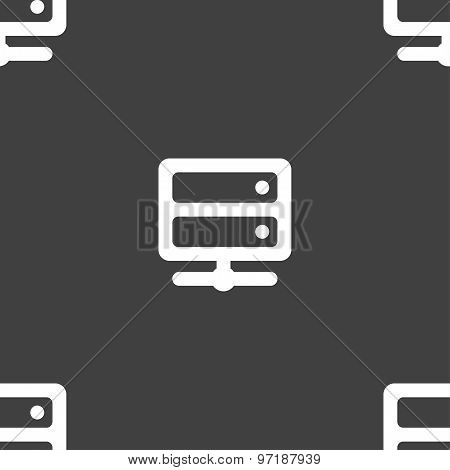 Server Icon Sign. Seamless Pattern On A Gray Background. Vector
