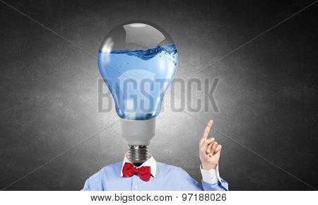 Headless man with light bulb instead of head